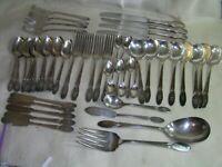 Vintage 1847 Rogers Bros Silver Plated IS Sylvia Monogram B 49 Piece Lot