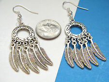 "FEATHER EARRINGS Tibet Silver Round Southwest 2 1/2"" Long Silver Ear Wires NEW!"