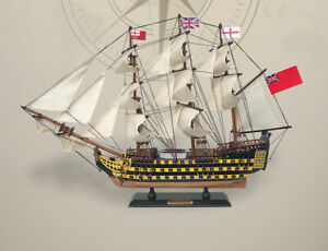 "24"" HMS VICTORY BRITISH GREAT BRITAIN EMPIRE COLONY FLAG Wood Vintage Model Ship"