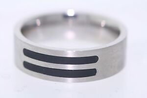 Pagoda Stainless Steel 7mm Double Black Resin Inlay Band Ring