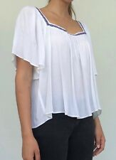Tigerlily ladies white short sleeved square neck summer blouse, size 12