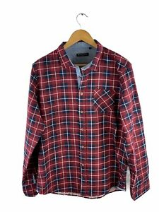 Brave Soul Men's Flannel Button Shirt Size L Red Check Long Sleeve Pocket Collar