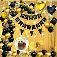 AYUQI Party Decoration Set, Black Gold Happy Birthday Balloons Banner with Star