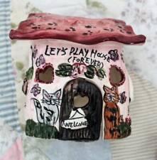 Blue Sky Clay Works Heather Goldminc Pink Cat House 2000 Tea Light Holder