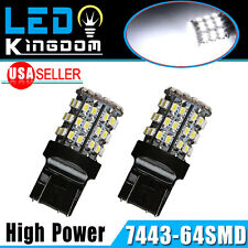 2x White 6000K T20/7443/7440/992 64smd Tail Brake Backup Reverse LED Light Bulbs