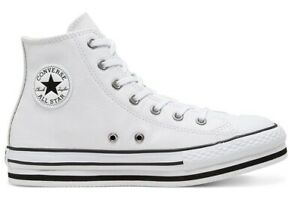 Chaussures Femme Converse All Star 666392C Basket Hautes Platform Chuck Blanche.