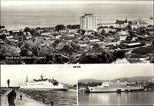 Schiffsfoto-AK Schiff Ship DDR-Fährschiff Sassnitz Schweden Fähre Skane im Hafen