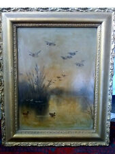 Antique Victorian Circa 1866 Oil Painting Mallard Ducks @ Sunset in Gilt Frame