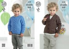 "King Cole DK Knitting Pattern 4149:Cabled Cardigan & Sweater 20""-30"""