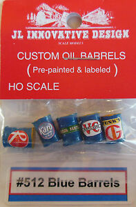 ASSORTED PRODUCTS BLUE CUSTOM BARRELS (5) PAINTED, LABELED & DETAILED -HO-SCALE