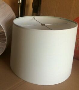 "Contemporary Style Fabric Drum Lamp shade 15"" w x 11"" ht  Lt Gray"