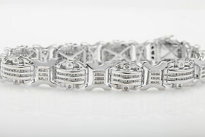 """Designer $18,000 10ct Diamond 14k White Gold Bracelet 44g 8.5"""" HEAVY"""