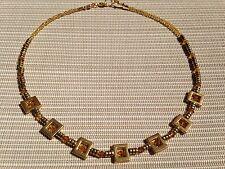 Halskette Collier aus vergoldeten Messing Quadern &  Swarovski Crystal Biconen