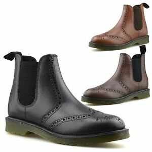Mens New Leather Chelsea Ankle Brogue Boots Casual Smart Dealer Work Shoes Size