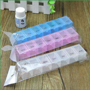 7 Slot Pill Box 7 Day Medication Case Organiser Tablet Dispenser dally Travel