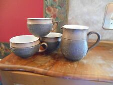 Rare Denby Made in England Cotswold Brown Coffee cups Tea cups mugs creamer
