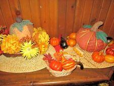 HARVEST Tabletop Decor 2 BASKETS 2 Fabric Pumpkins 2 WOVEN MATS Plastic Veggies