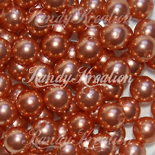 10mm Copper Brown Acrylic Round faux Pearl Spacer Bead Plain bottle cap gum ball