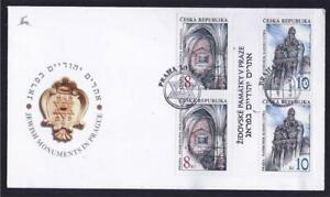 CZECH JOINT WITH ISRAEL 4 STAMPS 1997 JEWISH MONUMENTS IN PRAGUE FDC