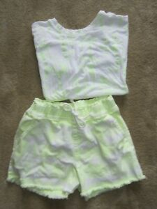 Lot 2 Girl's JUSTICE -  Shorts sz. 14 - Tee Top sz. 12  Lime Green and White