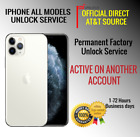 PREMIUM UNLOCK SERVICE iPhone 12 11PRO XS XR X 8 ACTIVE ON ANOTHER AT&T ACCOUNT
