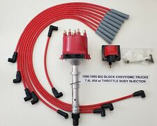 1990-1995 CHEVY/GMC TRUCKS 7.4L 454 TBI DISTRIBUTOR + RED Spark Plug Wires +Coil
