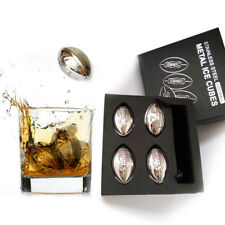 Stainless Steel Football Wine Ice Cubes Chilling Rocks Fine Whiskey Stone Gift