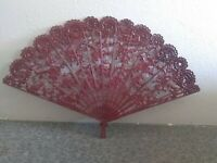 Resin ~ Ornate ~ Dark Red ~ Japanese Fan (Does Not Fold)