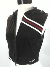 ADIDAS Vest Velour Hoodie Jacket Cropped VTG 90's Brown/Red AZB002 Womens L RARE