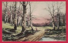 0518A AUTUMN VTG PC LANDSCAPE SCENE WOODS SUNSET HAND-COLORED ARTIST SIGNED