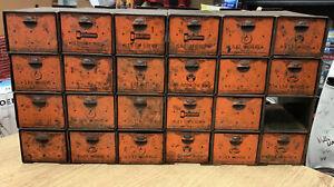Vintage Old Dorman Parts Bin Cabinet 24 Drawers Storage Bins Hardware Automotive