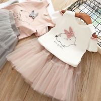 Children Baby Girl Cartoon Bunny T shirt Tops+Tulle Skirt Outfit Set Kid Clothes