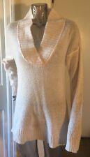 J Crew Sz S/M Mohair blend V-Neck Sweater cream Career EUC
