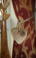 Wooden Heart Curtain Tie Hold Back Rope Loop Rustic Shaker Shabby Vintage Style