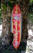 Shark Bite Sign Surfboard Vintage 3 Foot Solid Wood Wall Art Tropical Beach Deco