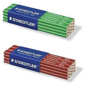 Staedtler Carpenter Pencils 3,6,12 MEDIUM & HARD OR MIX - Lasting Top Quality!