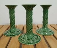 "Set 3 Vintage 6"" Bordallo Pinheiro Portugal Green Pinecone Candlestick Holder"