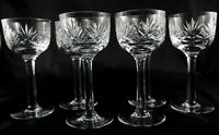 6 Stunning heavy Tall Vintage Lead Crystal Champagne Prosecco Wine Hock glasses