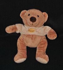 Peluche doudou ours BABY NAT' brun marron tee shirt beige brodé 21 cm TTBE