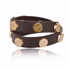 "NEW Brown Leather Double Wrap Gold Logo Stud Bracelet Bangle Stack BARGAIN 16"""
