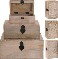 Distressed Carved Wooden Chests Jewellery Box Treasure Chest Trinket Box 4 Sizes