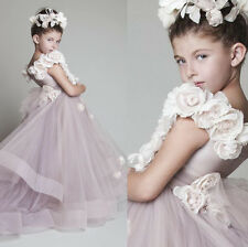 Shoulders Applique Tulle Baby Flower Girl Dress Kids Party Prom Wedding Pageant