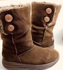 Skechers Tone Ups Boots Brown Suede Leather Faux Fur Winter Women Sz 10 M 38710
