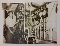 Vintage 1940's WWII era Photo of man on Ship Engine Room or SUBMARINE US Navy