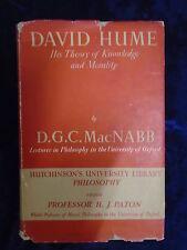 DAVID HUME by D G C MACNABB - HUTCHINSONS 1951 - H/B WITH JACKET *1ST ED*