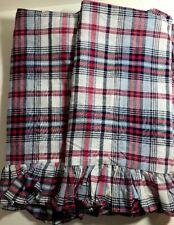 "Ralph Lauren Madras Plaid EuroSham Ruffled Pillow Cover Red White Blue 25.5"" Sq."