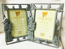 Lot of 2 Santa Pewter Look Metal Frame for 3 1/2�x5� Photo Country Christmas New