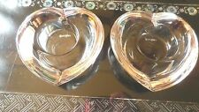 ORREFORS CRYSTAL (2) HEART SHAPED VOTIVE CANDLE HOLDERS