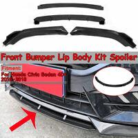 Per Honda Civic Sedan 2016-2018 Carbon Black Front Bumper Lip Body Kit Spoiler