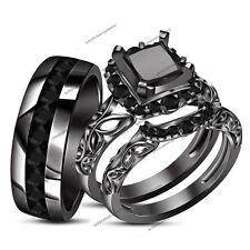 1.49CT Black Diamond 14K Black Gold Finish Engagement Band Wedding Trio Ring Set